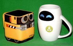 WALL-E & EVE ROBOT COFFEE CUP CERAMIC MUG SET DISNEY STORE EXCLUSIVE PIXAR MOVIE