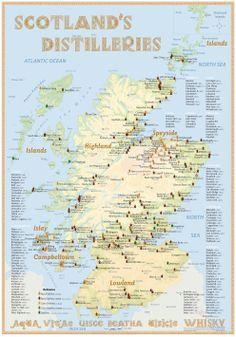 Scotland's Distilleries Map with all Whisky Distilleries in Scotland