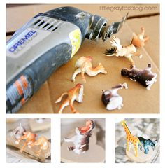 fun idea- cut animals in half, attach magnets, and kids can mix and match animal front and backs to make new animals!