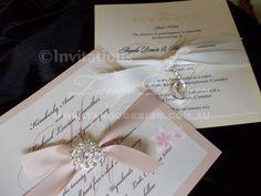 Crystal Wedding Invitation Sample with bling brooch