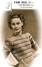 Vintage 40s Knitting Pattern Lady's 'Charming' Fair Isle Jumper 33-36 ins. Bust