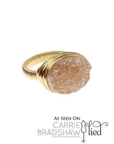 White Druzy Ring - talk about pretty bling. #jewelry #handmade