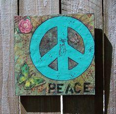 Original Painting Peace Sign Encaustic by DEBIDOODAH on Etsy, $24.00