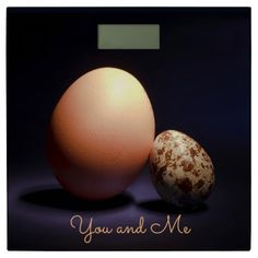 Chicken and quail eggs in love. Text «You and Me». Bathroom Scale #scale #bathroomscale #chicken #quail #eggs #love #couple #lovers #beige #darkblue #stilllife #photography #darkness #funny #photo #food #kiychen #valentinesday  #darkpurple  #fantasy #youandme #customized #personalized #graphics #artwork #buy #sale #giftideas #zazzle #discount #deals #gifts #shopping #mostpopular #trendy #cool #best #unique #stylish #gorgeous