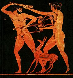 Herakles and Apollo, both sons of Zeus, fight over the tripod giving its owner rights over the sanctuary at Delphi. Ancient Greek Sculpture, Ancient Greek Art, Ancient Greece, Roman Sculpture, Sculpture Art, Greece Art, Male Figure Drawing, Ancient Myths, Greek Pottery