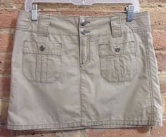 American Eagle Outfitters Beige Skirt sz 2 Casual Cargo Pockets S #AmericanEagleOutfitters #Mini