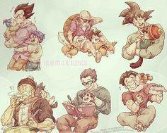 Vegeta, Bulla, and Trunks. Master Roshi, Krillin, and Goku. Goku and Gohan. Grandpa Gohan and Baby Goku. Adult Gohan and Pan. Krillin and Marron. Dragon Ball Gt, Otaku, Awesome Anime, Anime Love, Geeks, Manga Anime, Anime Art, Goku And Gohan, Manga Dragon