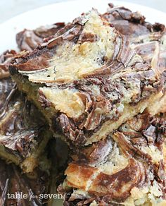 Chocolate Marble Gooey Butter Cake • Table for Seven