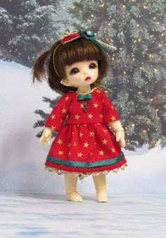 Red and gold sleeves Christmas Dress and crown for Pukipuki and Lati White doll