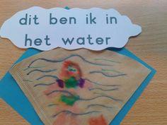 Tekenen met stiften op filterzakje. Nat maken met plantenspuit. Annie, Stage, Sport, Water, Figurine, Gripe Water, Deporte, Excercise, Sports