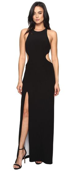 Halston Heritage Sleeve Long Round Neck Color Blocked Gown w/ Back Cut Out (Black/Chalk) Women's Dress - Halston Heritage, Sleeve Long Round Neck Color Blocked Gown w/ Back Cut Out, MEC161760B-965, Apparel Top Dress, Dress, Top, Apparel, Clothes Clothing, Gift, - Street Fashion And Style Ideas