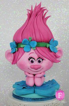 Trolls Poppy Sugar Sculpture-Modelling Chocolate with Satin Ice Fondant by Fernanda Abarca Cakes