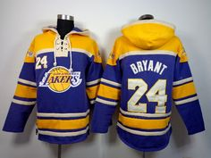 Los Angeles Lakers 24 Kobe Bryant purple and yellow Sawyer Hooded Sweatshirt Jersey