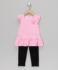 Take a look at this Pink Stripe Rosette Tunic & Black Leggings - Infant by Angel Face on #zulily today!