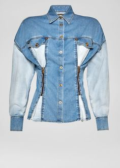 Zip Pleated Two-Toned Denim Jacket from Versace Women's Collection. A casual must-have, this button-up, two-toned denim jacket is embellished with two front zipped pleats that accentuate its silhouette - oversize fit shoulders and fitted waist. Denim Blazer, Denim Top, Jeans, Diy Clothes Refashion, African Wear, Denim Fashion, Jackets For Women, Upcycled Clothing, Trending Fashion