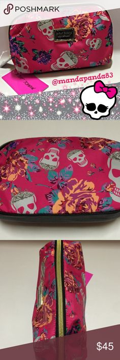 Betsey Johnson Skull & Floral Makeup Bag NWT Absolutely adorable makeup bag by Betsey Johnson. Measures 10 x 6 x 3.5. Has an open compartment in a silky floral pattern. Yet another item I wanted to keep but I must raise money. #betseyjohnson Betsey Johnson Bags Cosmetic Bags & Cases