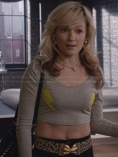 Samantha's grey lightning bolt crop top and leopard print belt with gold bow on The Carrie Diaries.  #TheCarrieDiaries