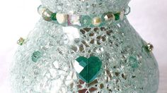 sparkle Vase silver emerald pearls heart home decor by LonasART