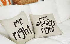 Mr Right Mrs Always Right Pillow Cover Set Wedding Gifts Mr Right, Mrs Always Right, Mr Mrs, Set Cover, Novelty Gifts, Pillow Talk, Wedding Sets, Retro, Throw Pillow Covers