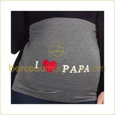 Bandeau de grossesse I love papa gris   par  Mama band