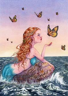 Mermaid and butterflies