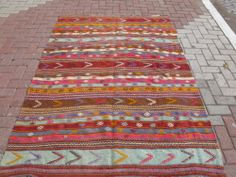 Turkish Kilim Rug Natural Wool x by decorpillow on Etsy Natural Fiber Rugs, Natural Rug, Turkish Kilim Rugs, Rugs On Carpet, Bohemian Rug, Wool, Antiques, Unique Jewelry, Handmade Gifts