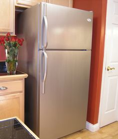 Here is a customer photo showing a refrigerator after painting it with liquid stainless steel paint. photo courtesy Thomas' Liquid Stainless Steel