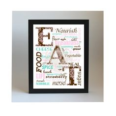 EAT  Instant Download Digital File 8x10 by patternedpomegranate, $5.00 Brown Pink and Teal with Damask Pattern - home decor, kitchen wall decor, housewarming gift! #patternedpomegranate