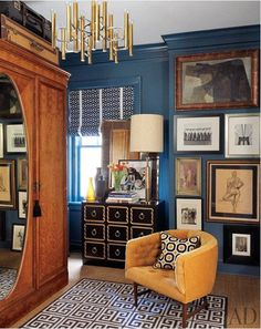 Love the armoire. Mimosa Lane: Blue Walls