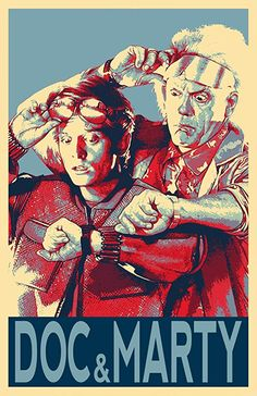 Back to the Future Doc Brown and Marty Mcfly Illustration - Sci-fi Time Travel Film Pop Art Movie Home Decor in Poster Print or Canvas Doc Brown, Digital Foto, Political Posters, Culture Pop, Pop Art Illustration, Marty Mcfly, Alternative Movie Posters, Movie Poster Art, Iconic Movies