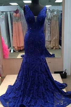 Ulass 2016 Luxury Lace Prom Dresses Navy Blue V-neck Beads Lace Long Formal Evening Dress Cap Sleeves Mermaid Party Gown Custom Made Blue Lace Prom Dress, Gorgeous Prom Dresses, Royal Blue Prom Dresses, V Neck Prom Dresses, Elegant Prom Dresses, Mermaid Prom Dresses, Party Dresses For Women, Formal Evening Dresses, Evening Gowns