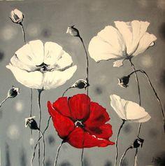 Riesige Original Ölgemälde 51 x 51 - Mohn Blumen - grau rot-weiße Wandkunst - Flower Painting von Mohn - Impasto Gegenwartskunst - XXXL  Zustand: Ausgezeichneter ganz neu  Dominierende Farben - rot, grau, weiß  Hinweis: © 2012 alle Rechte vorbehalten Kunst von Elizabeth Lisa  Größe: 130 x 130 cm. (51 x 51 Zoll.) ________________________________________________________________________ Bitte kontaktieren Sie uns für weitere Größen!  Typ: Original Erholung-Ölgemälde auf Leinwand mit Spachtel…