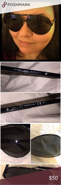 """AUTHENTIC Gucci aviator sunglasses 💯 Authentic Gucci aviator sunglasses. They're a few years old & show wear in places around rims (see pics). A few scratches on lens but not noticeable unless up close. I had to use the flash to get them to show up in pics. Screws on temple could probably use a tightening. See pics for proof of authenticity: Nose pads feature Gucci logo, """"Gucci"""" written on temples & one lens, made in Italy. I don't sell or support fakes. Price reflects age & wear. ❤️💋 ❌ No…"""