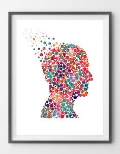 Mind And Psychology Watercolor Print Human Head Poster Psychotherapy Symbol Psychology painting print Medical Wall Art Psychiatry Clinic Art