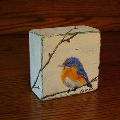 Made to order blue bird painting original oil painting on wood block wildlife art miniature art small painting mini painting Oil Paint On Wood, Painting On Wood, Wood Oil, Art On Wood, Small Paintings, Original Paintings, Art Paintings, Pintura Tole, Art Diy