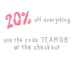 To celebrate the last weekend of the Olympics and the amazing success of Team GB here's 20% off everything this weekend only! Use the code 'TEAMGB' at the checkout. pennyrosehomegifts.co.uk