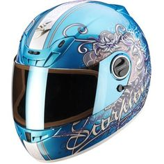 motorcycle helmets for women | ... Exo 400 Air Full face Motorcycle Helmet, in the Ann Sky Blue graphics