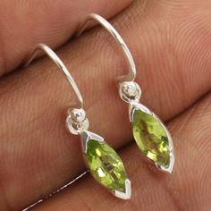 1 Pair Amazing 925 Sterling Silver Jewellery Earrings Natural PERIDOT Gemstones #Unbranded #DropDangle