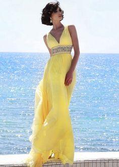 2015 Sherri Hill 11189 Sparkly Beaded Waist V Neck Yellow Long Prom Dress