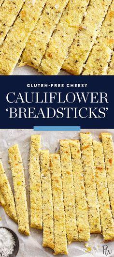 Gluten-Free Cheesy Cauliflower 'Breadsticks' via @PureWow