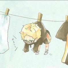 Just simply cute - Anime Comic Anime, M Anime, Cute Anime Chibi, Fanarts Anime, Anime Kawaii, Anime Characters, Haikyuu Tsukishima, Haikyuu Funny, Haikyuu Fanart