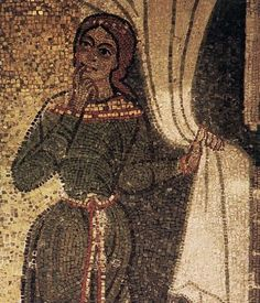 Detail of a mosaic, The Visitation, 12th century, Basilica of San Marco in Venice, Italy.