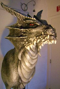 This is my largest dragon sculpture, acrylics and air dry clay. Clay Dragon, Dragon Head, Dragon Art, Dragon Puppet, Fantasy Creatures, Mythical Creatures, Wall Sculptures, Sculpture Art, Dragon Medieval