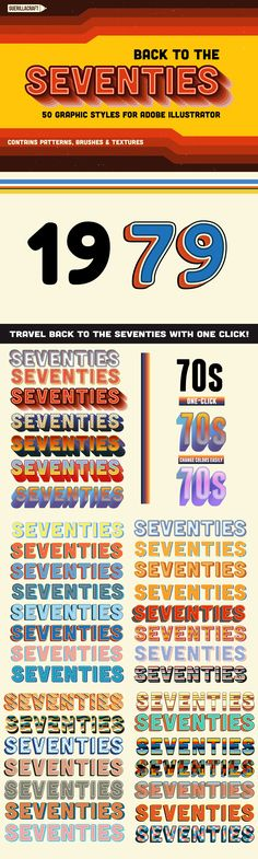 Back to the Seventies is a collection 57 Graphic Styles for Adobe Illustrator. With one click you can make beautiful typography effects inspired by 70s pop culture. Extremely time-saving if you are working on posters or web graphics. With this collection you will get 27 seamless retro patterns, 6 seamless texture swatches and 14 colorful retro brushes for Adobe Illustrator. As a bonus, you will get color swatches made with real seventies color palette. Get it now on Creative Market!
