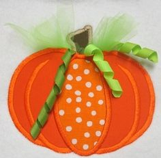 Tulle Pumpkin Applique - 3 Sizes! | Fall | Machine Embroidery Designs | SWAKembroidery.com Band to Bow