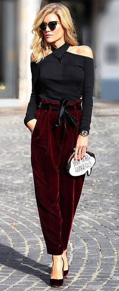 fashionable outfit : top + velvet pants + bag + heels