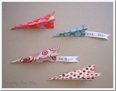 "Fabric ""paper"" Airplanes!  Would make cute place cards for a birthday party too!"