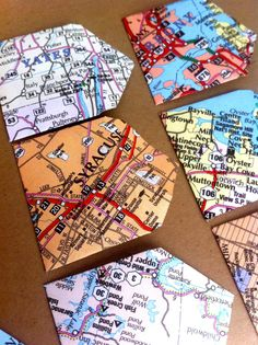 Upcycled New York Map Mini Envelope Stationary Set - 30.