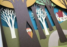 Little Red Riding Hood Paper Diorama, detail of owl by mmmcrafts, via Flickr