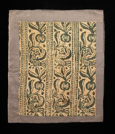 It's Russian and its block printed. It's a little late, but nonetheless AWESOME    Textile    Date:      1600–1799  Culture:      Russian  Medium:      linen  Dimensions:      18 x 14 1/2 in. (45.7 x 36.8 cm)  Credit Line:      Brooklyn Museum Costume Collection at The Metropolitan Museum of Art, Gift of the Brooklyn Museum, 2009; Gift of Mrs. Edward S. Harkness in memory of her mother, Elizabeth Greenman Stillman, 1931  Accession Number:      2009.300.2707